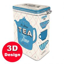 Tea Caddy -  Hinged Embossed Storage Tin